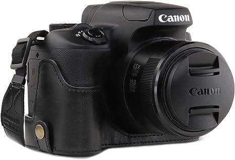 Megagear mg1600 para Canon powershot sx70 HS Estuche Ever Ready, Media Funda, Estuche de Base, Funda de Cuero, de Pronto Uso, con Correa: Amazon.es: Electrónica
