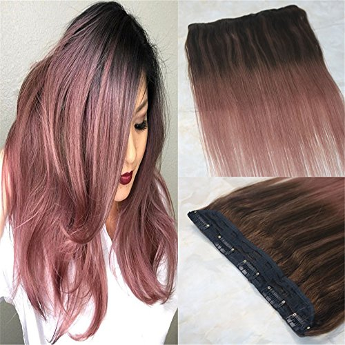 """HairDancing 14"""" 70g One Piece Balayage Clip in Human Hair Extensions Brazilian Remy Human Hair Highlighted #3 Darker Brown to Rose Gold Omber Sew in Weft Clip on Hair Extensions"""