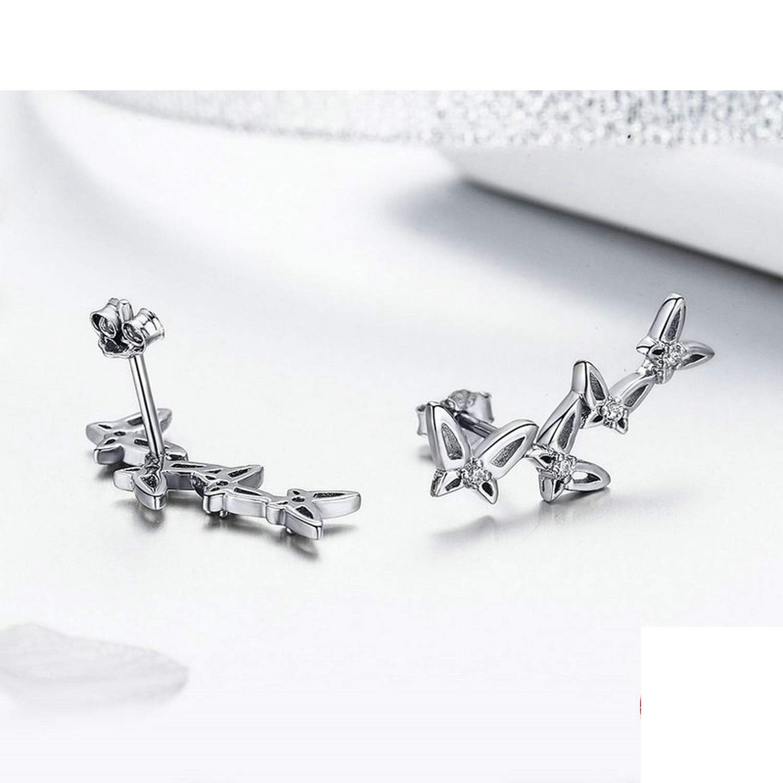 Sterling Silver Simple Dancing Butterfly Stud Earrings For Women Party Jewelry Girlfriend Gift