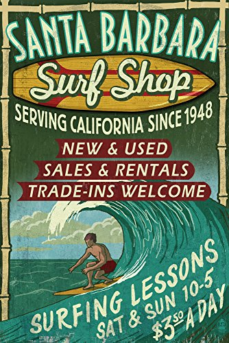 Antique Santa (Santa Barbara, California - Surf Shop Vintage Sign (12x18 Art Print, Wall Decor Travel)