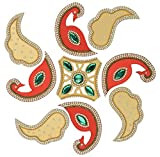 Diwali Floor Rangoli Design with Studded Stones & Sequins Traditional Festive Home Decorations