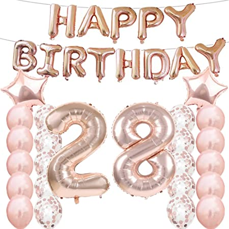 LQQDD 28th Birthday Decorations Party Supplies,28th Birthday Balloons Rose Gold,Number 28 Mylar Balloon,Latex Balloon Decoration,Great Sweet 28th ...