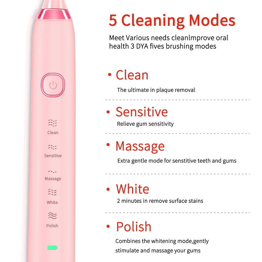 Sonic Electric Toothbrush Clean as Dentist Rechargeable,USB Rechargeable Toothbrush,4 Hours Charge Minimum 30 Days Use 5 Optional Modes Travel Toothbrush-Cherry Blossom Pink
