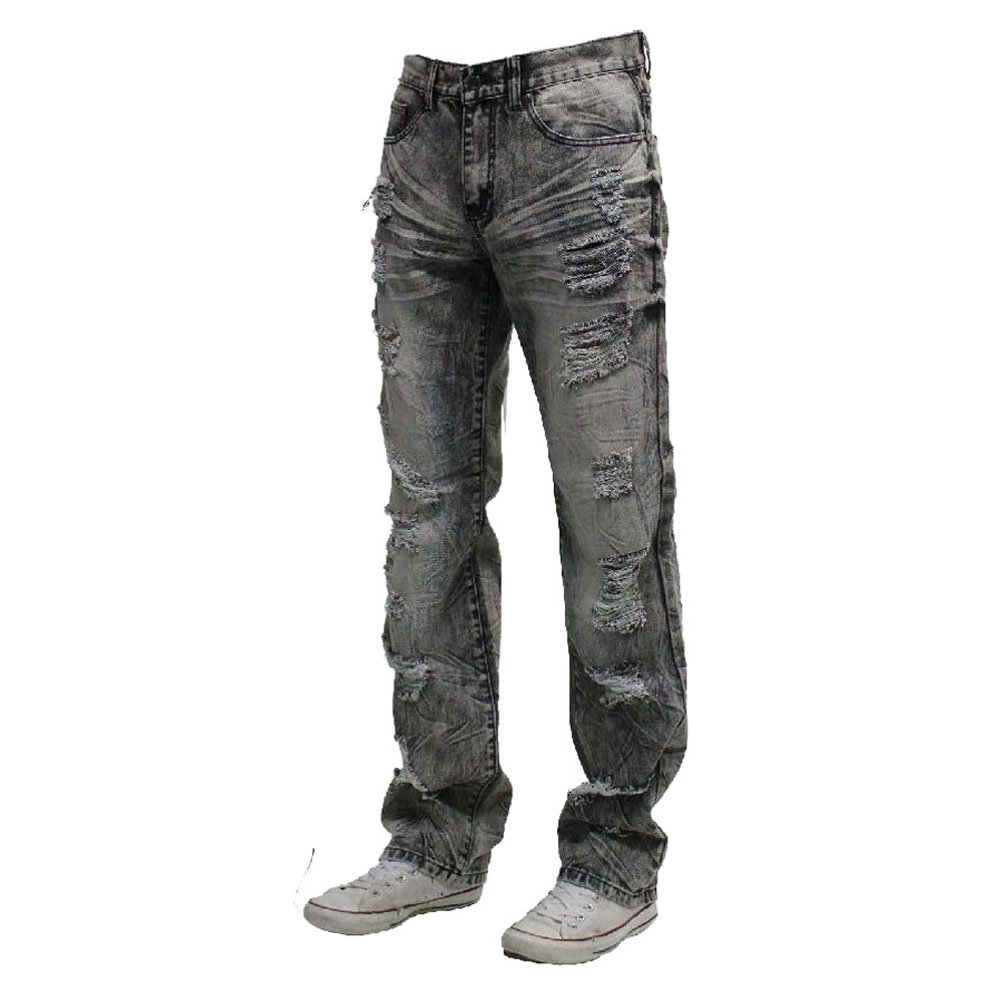Fashion Ovedcray clothes Men Ripped Vintage Style Denim Straight Fit Jean Pants 16A Black Jean