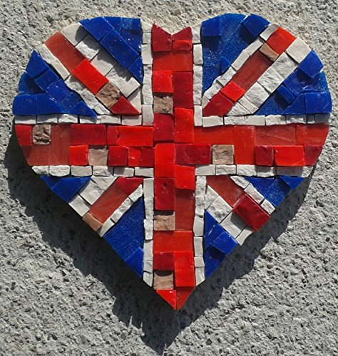 Union Jack with Love - Mosaic craft kit for adults - Marble & Murano glass mosaic tiles - DIY love gift - Make your own mini mosaic wall art - Cool art gifts from MyriJoy