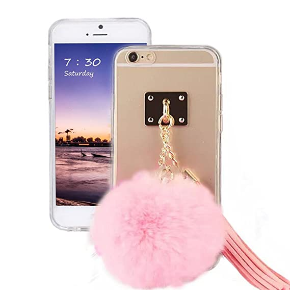 separation shoes c75e8 ffe93 Puff Ball Pom Pom Phone Case, Soft Clear TPU Case Cover With Fur Ball  Tassel for iPhone 6 plus/6S plus 5.5 Inch (pink)