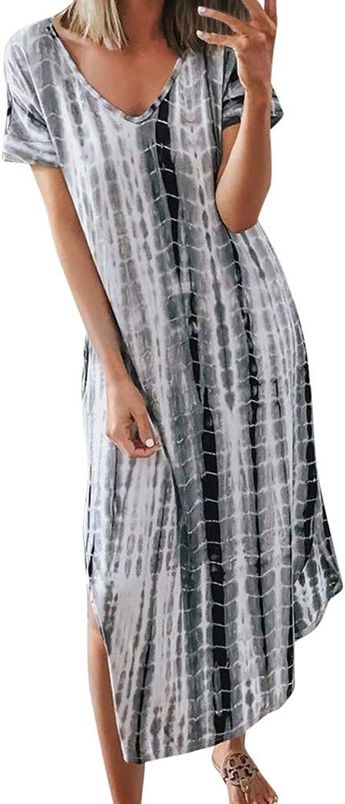 S-5XL Womens Short Sleeve Backless Ruffle Asymmetric Kaftan Loose Long Dress