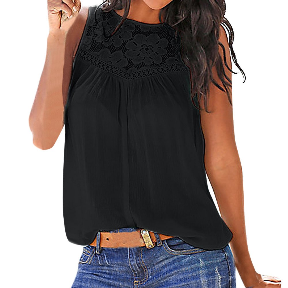 AOmahh 2019Women Summer lace Stitching Vest Top, Short Sleeve Blouse Casual Tank Tops T-Shirt Black