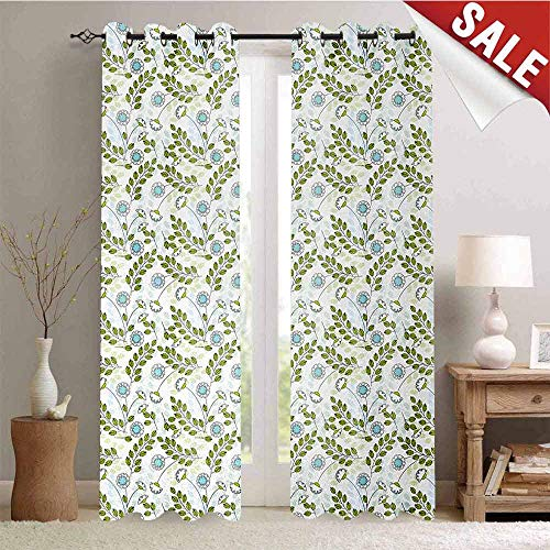 Hengshu Leaves Decor Curtains by Pastel Colored Spring Nature Leaves and Flower Petals Harvest Pattern Room Darkening Wide Curtains W96 x L96 Inch Apple Green Pale Blue