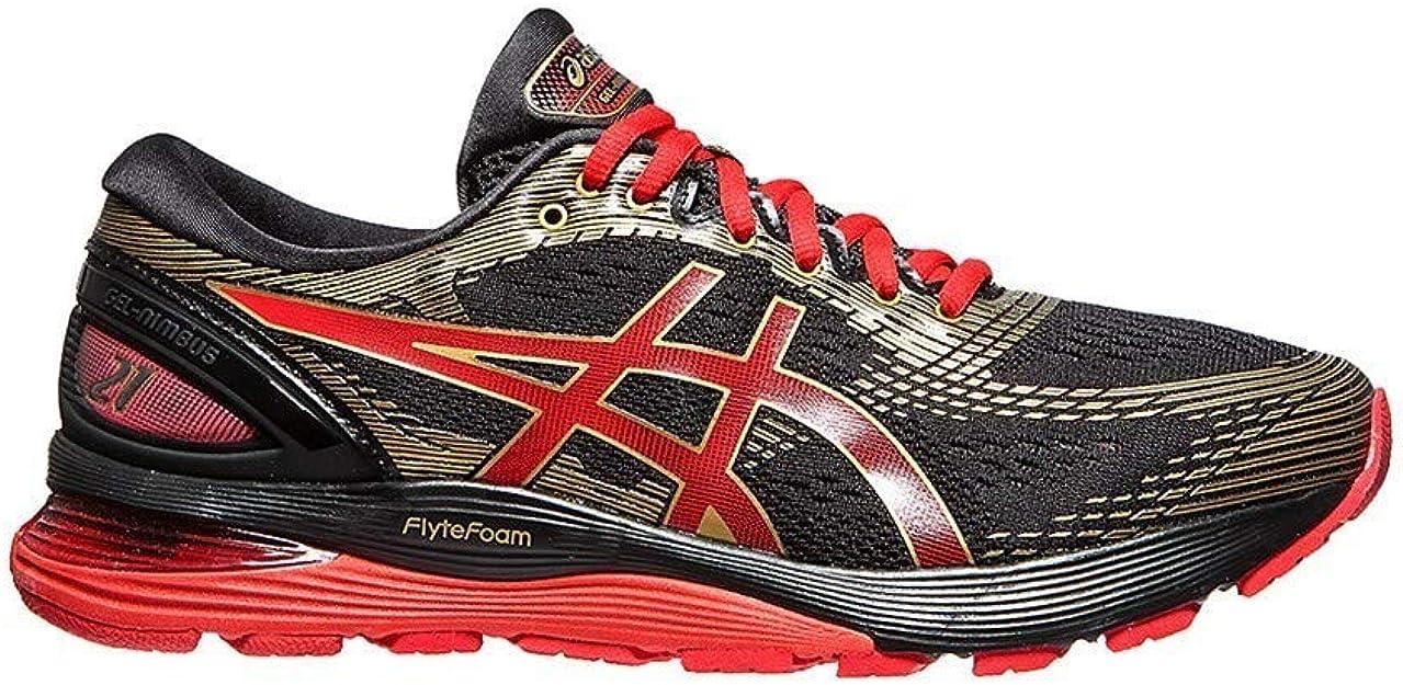 Asics Nimbus 21 Zapatilla para Correr en Carretera o Camino de Tierra Ligero con Soporte Neutral para Hombre Mugen Negro Rojo Oro 42 EU: Amazon.es: Zapatos y complementos