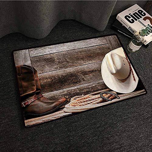 (Western Decor Non-Slip Door mat Americana Rodeo Fashion White Straw Hat Original Lariat Lasso and on Barn Antifouling W20 xL31 Tortilla Brown)