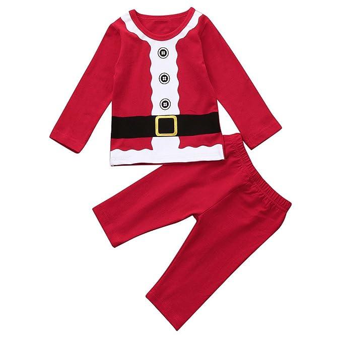 YanHoo Traje de Servicio a Domicilio para niños, Camiseta de Manga Larga Camiseta de Manga Larga para niños Tops Pantalones Pijamas Conjunto de Navidad Ropa ...