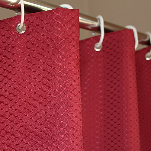 Eforcurtain Extra Long European Red Honeycomb Waffle Bathroom Curtains Blackout Water Repellent & Mildew Free, Durable Heavy Duty Microfiber Shower Curtain Liner for Men and Women, 72'' W x 78'' L