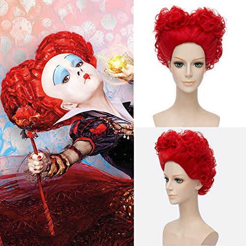 Red Queen Anime Cosplay Short Curly Red Hair Wig