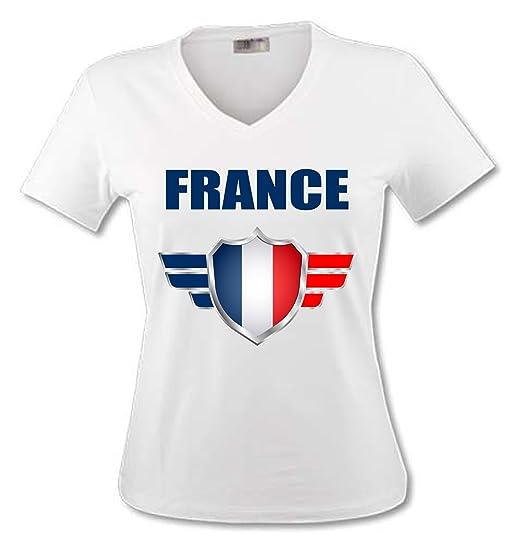 boutique de sortie mignonne dernière mode YONACREA - T-Shirt Col V Adulte - France - Coupe du Monde DE Football 2018