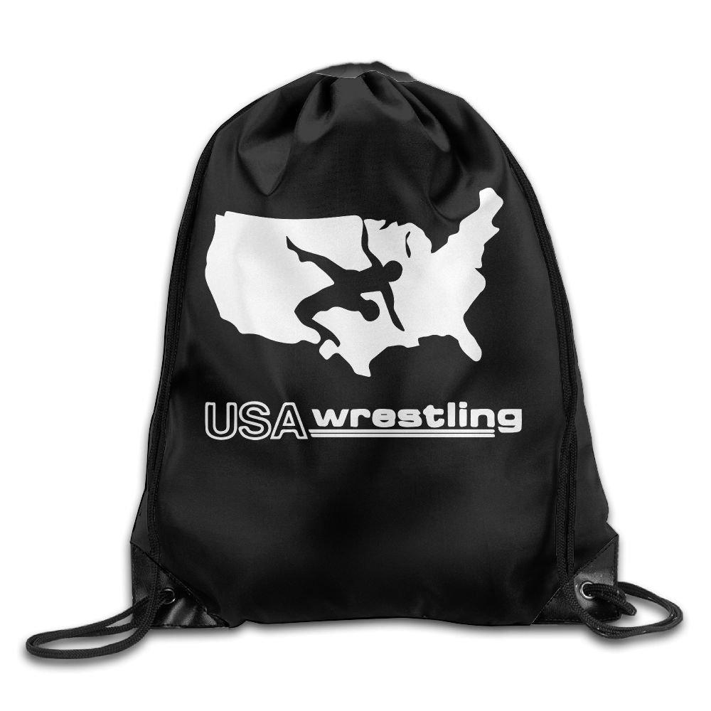 USA Wrestling Drawstring Pack Beam Mouth Gym Sack Shoulder Bags For Men & Women