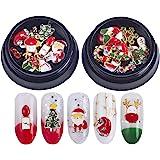 Christmas Nails Decorations 3D Metallic Nail Art Glitter Rhinestones Christmas Santa Reindeer Snowman Nail Supplies…