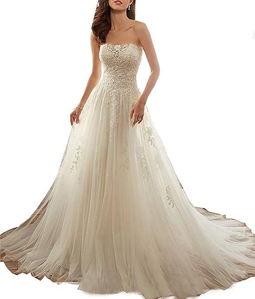 XUYUDITA Strapless una lšªnea de encaje floral corsšŠ vestido de novia de la espalda para la novia: Amazon.es: Ropa y accesorios