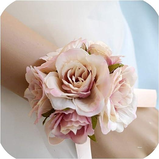 Silk Wristband Hand Flowers Bride Bridesmaid Wrist Corsage for Wedding Style