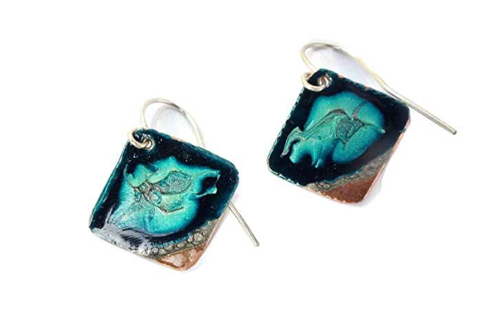 Hand painted Glittering Ocean design Copper earrings with sterling ...