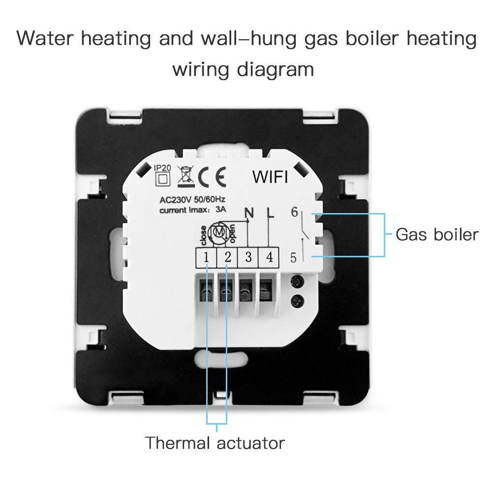 aixi-SHS Wi-Fi termostato suelo calefacci/ón por agua Alexa echo//Google Home//IFTTT pantalla t/áctil LED tempeature TuyaSmart//Smart Life App control