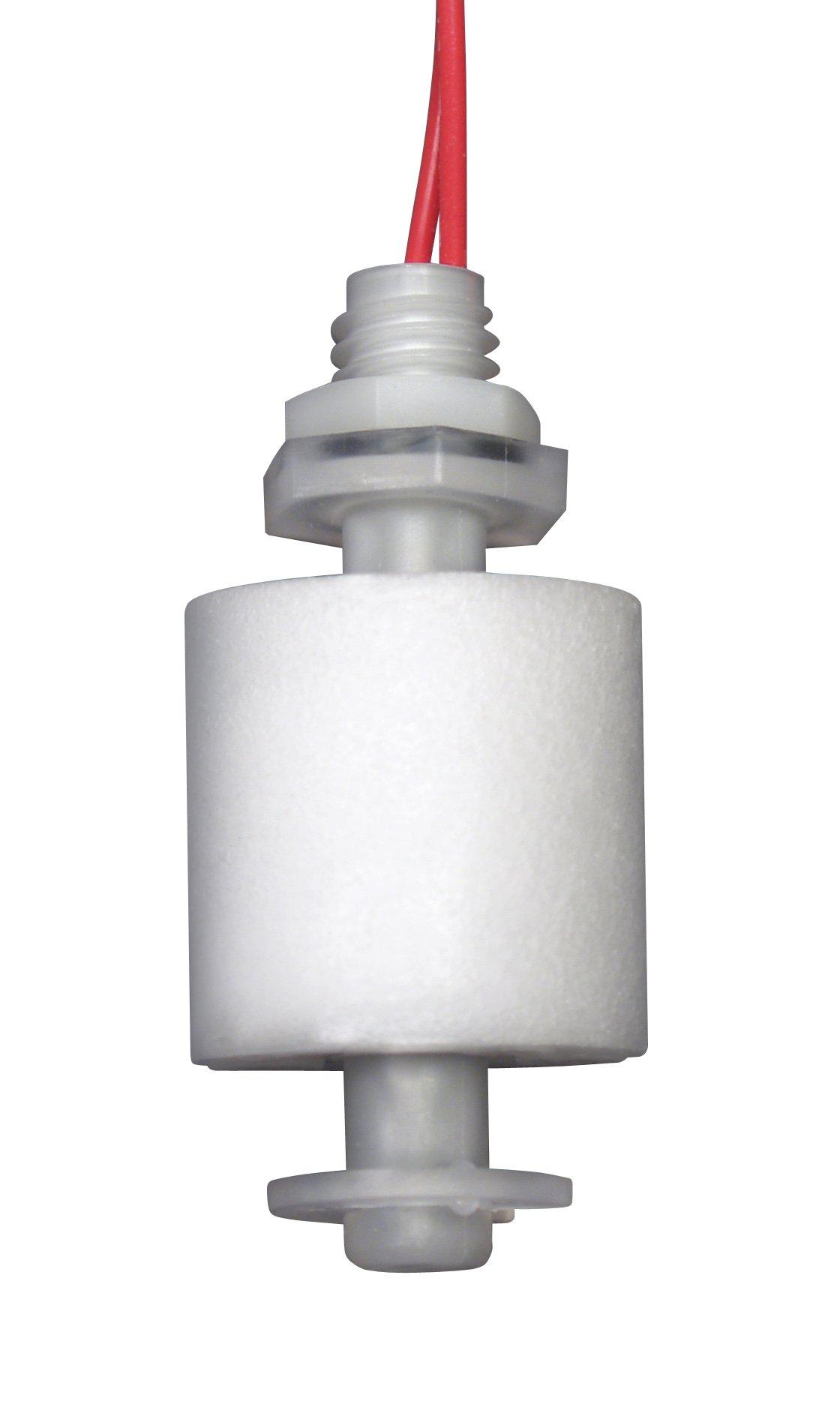 Madison M8000B Plastic Full Size Metric Miniature Liquid Level Float Switch with Polypropylene Stem, 30 VA SPST, Bulkhead, 6 Bar Pressure