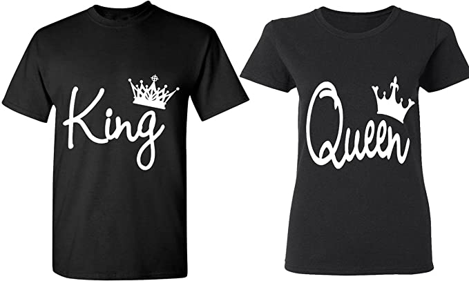 446f68dd78 Image Unavailable. Image not available for. Color: Couple Love King & Queen  - Matching Couple Shirts - His and Her T-Shirts