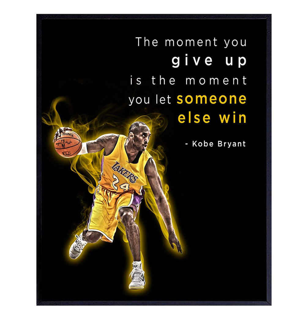 Kobe Bryant Motivational Quote, Wall Art for Office, Gym - 8x10 Poster Print Wall Decor for Boys Bedroom, Man Cave - Gift for Sports, LA Lakers Basketball Fan, Men - Unframed Room Decoration Picture