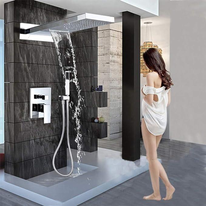 FMXKSW Syst/ème de Douche Mitigeur de Douche en Laiton avec mitigeur Mural et Colonne de Douche avec douchette mitigeur 3 Voies