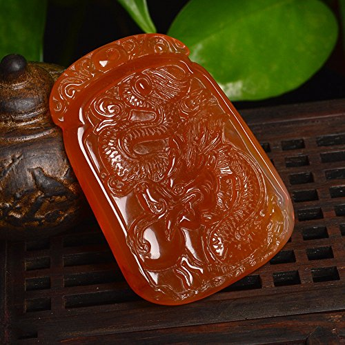 Brazilian Agate Pendant - Authentic Brazilian natural red agate chalcedony necklace pendant jade necklace pendant Dragons domineering men and women girls models necklace pendant with a certificate
