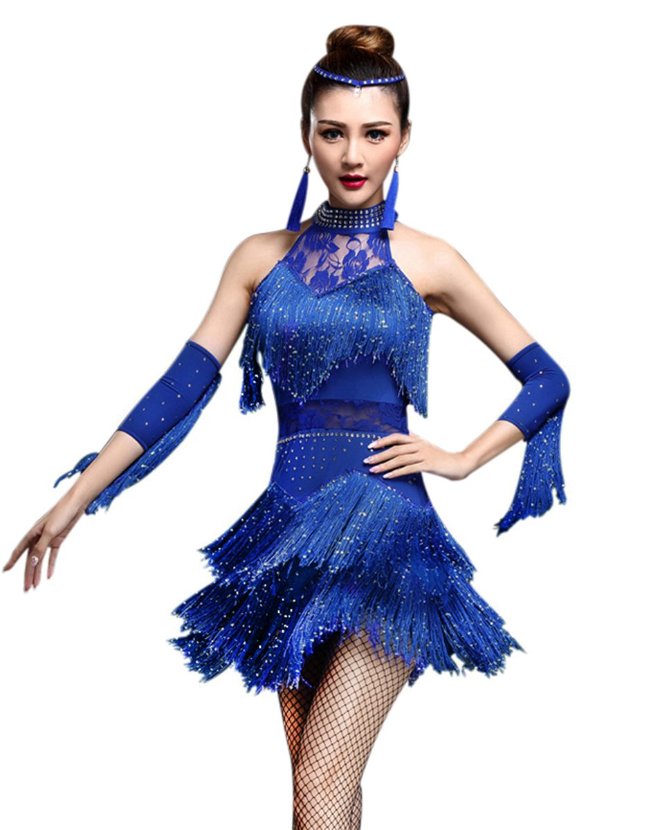 Z&X Women's Rhinestone Tassel Flapper Latin Dance Dress 3 Pieces Outfits X-Large Royal Blue by ZX