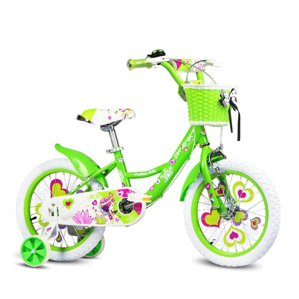 子供用自転車14インチガールサイクリング3-6赤ちゃん用自転車ハイカーボンスチールベビーカー、ピンク/グリーン/ブルー (Color : Green) B07CZYB158