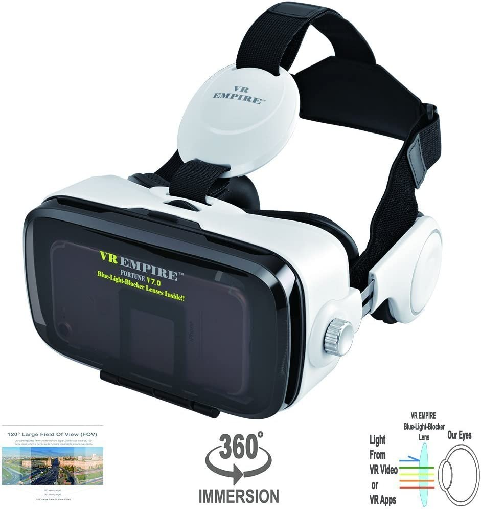 Virtual Reality Headset 3D Glasses with 120°FOV, Anti-Blue-Light Lenses, Stereo Headset
