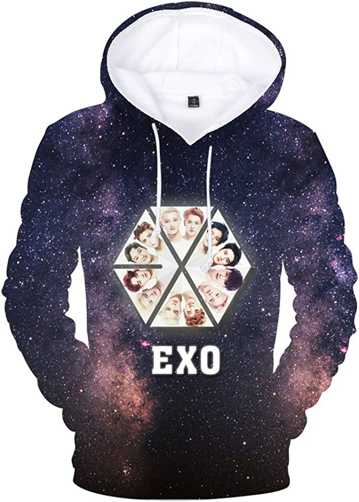 EXO Pullover Trendy Hooded Sweater Mens Long Sleeve Pullover Casual Fashion Cotton Sweatshirt Pullover Unisex