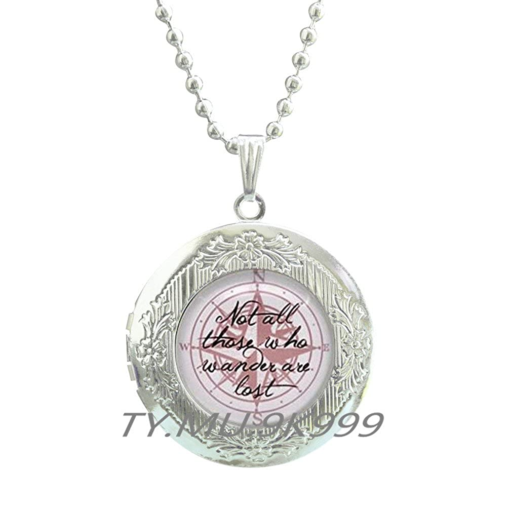 Quote Locket Necklace Yao0dianxku Not all those who wander are lost Quote Locket Pendant Quote jewelry Birthday gift,Compass Locket Necklace,Compass Locket Pendant.Y253