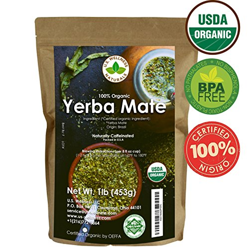 Yerba Mate Tea 1LB (16Oz) 100% CERTIFIED Organic FULLY GREEN Yerba Mate | NO Dust | FRESH - NEVER Aged (Ilex Paraguariensis) | Brazilian Rain Forest Grown from U.S. Wellness Naturals (Gourd Yerba Tea Mate)