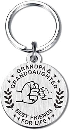 My Grandma Grandpa and Grandson Granddaughter Keychain Best Friend for Life Love Gifts for Birthday Christmas
