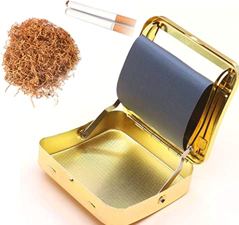 FIRUKI Maquina Liar Tabaco, Manual Máquina De Laminación De Cigarrillos De Acero Inoxidable Caja De Cuero Fabricante De Cigarrillos Portátil (Dorado) Yellow: Amazon.es: Hogar