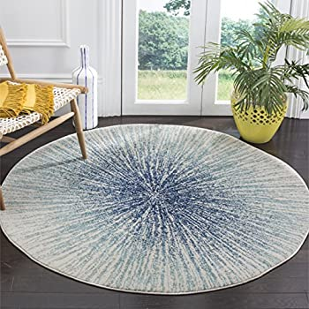 Safavieh Evoke Collection EVK228A Contemporary Burst Royal Blue and Ivory Round Area Rug (3' Diameter)