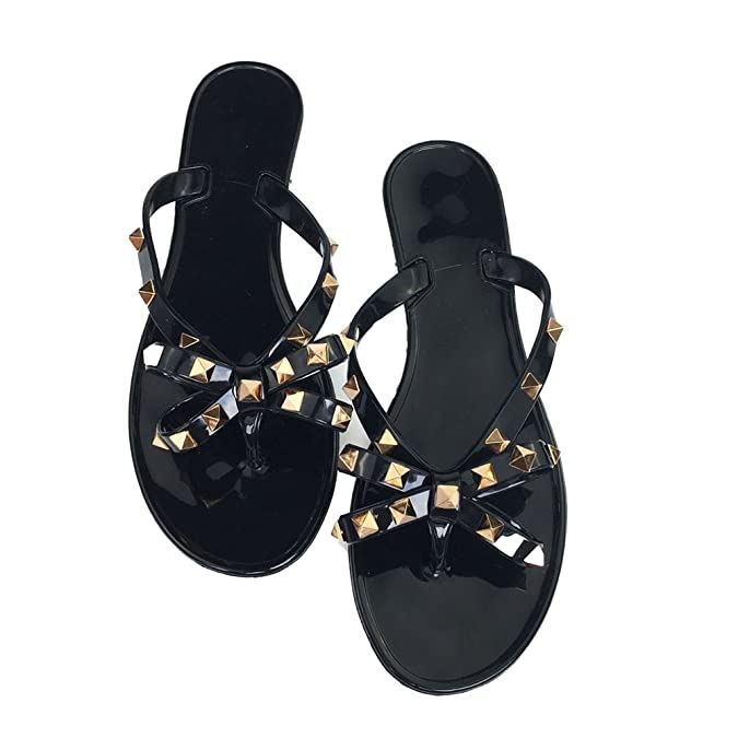 dc4c694f2 Amazon.com  Luobote Women Stud Flat Flip-Flops Rivet Bow Sandals Beach  Jelly Slip On Thong Shoes  Shoes