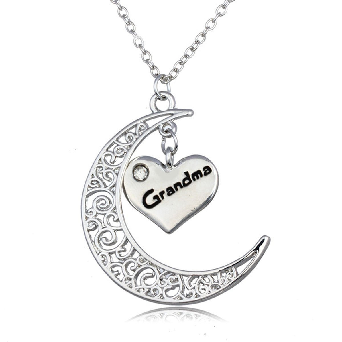 Linsh Moon Grandma Pendant Necklace Hollow Out Carved Moon Heart Letter Fashion Jewelry for Grandma