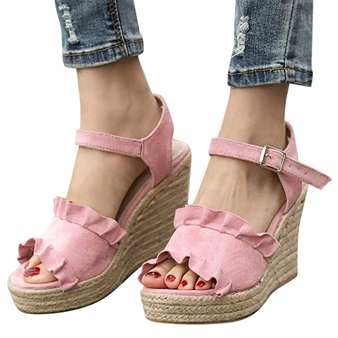 8f1d0bad008f Amazon.com  Behkiuoda Thick Heel Wedges Sandals