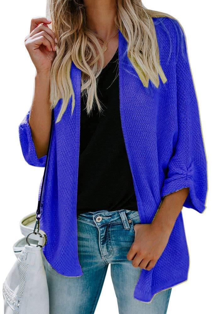 Yknktstc Womens Cardigan Sweater Knit Open Front Drape Lightweight Loose Casual Sweaters Small Royal Blue