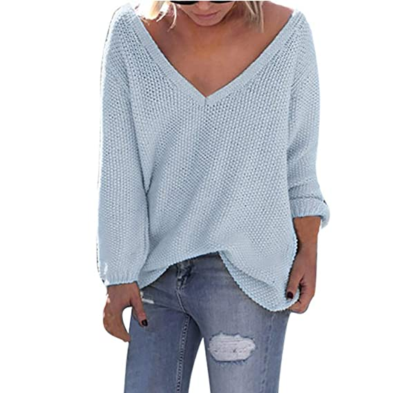 Damen Herbst Winter V Ausschnitt Pullover,TWIFER 2019 Sweater Lose Langarm Bluse