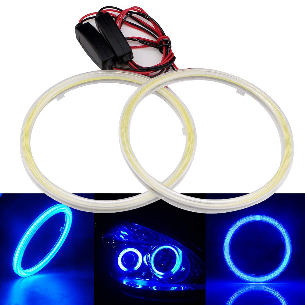 Grandview 1 Pair 2pcs Blue 70mm 60smd Cob Led Headlight Angel Eyes Neon Ring Ccfl Eye Shadow Double Bulb Halo Lamp Light With The Reflector Cover Constant Current 9 30v