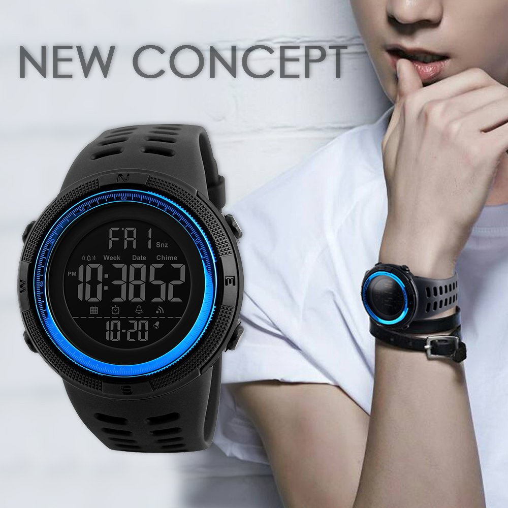 Amazon.com: SKMEI Digital Watches for Men Japanese Quartz Movement Backlight 50M Waterproof Rubber Strap Dress Watch Sport Wrist Watches: Watches
