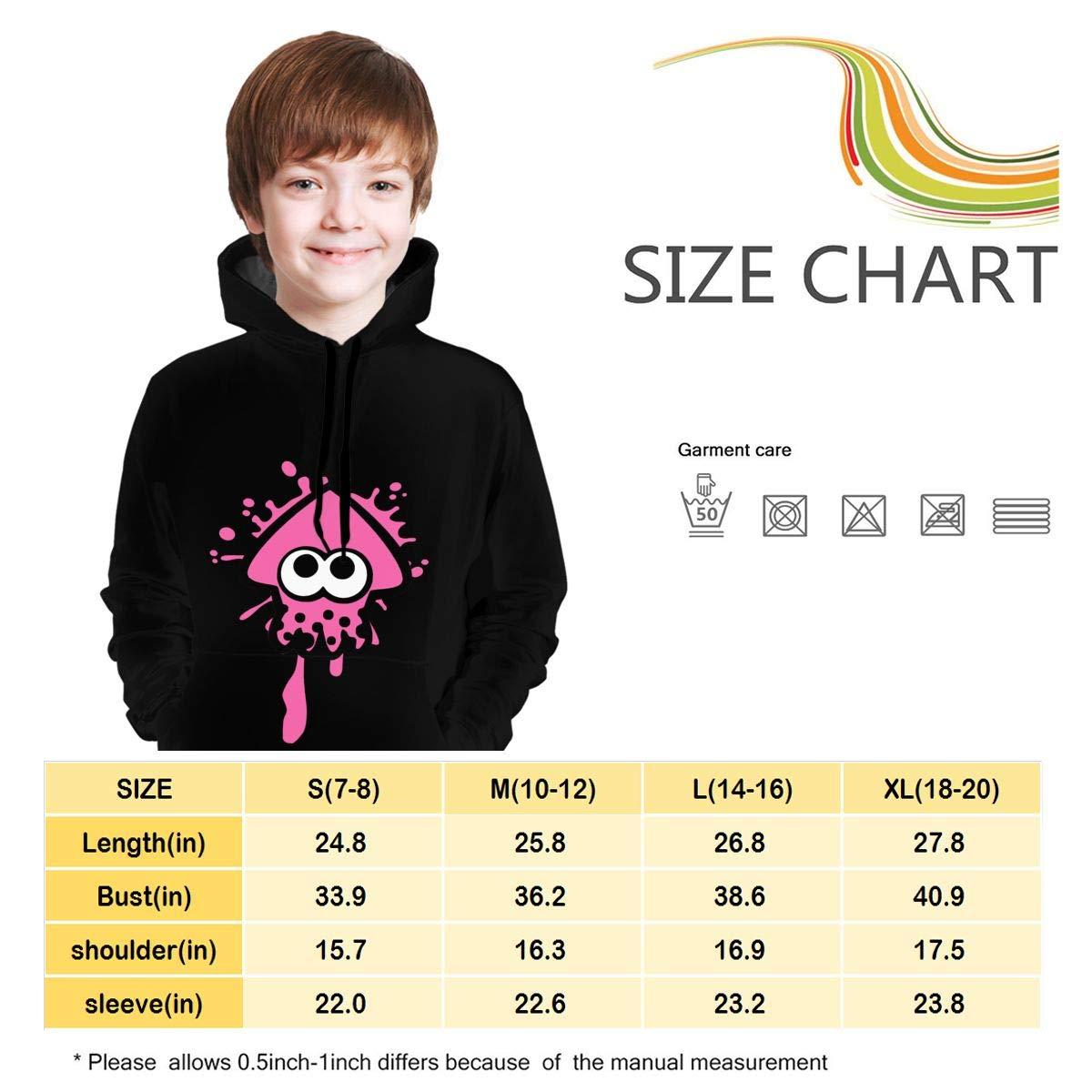 Wangqiuying19 Adolescents Sweat /À Capuche Splatoon 2 Unisexe Enfants Jeunes Hauts Hoodies pour Les Gar/çons Et Les Filles