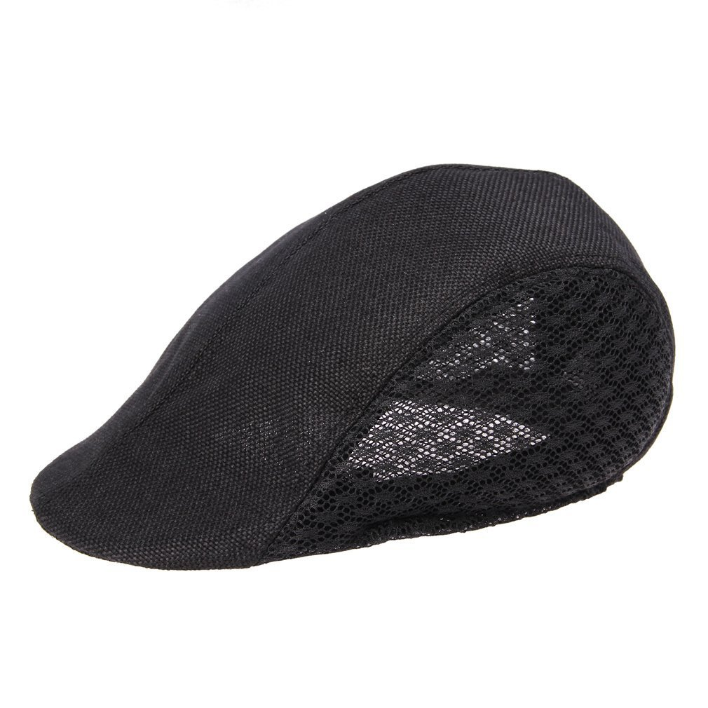 bc02aab63 Half Duck Mesh Summer Gatsby Cap Mens Ivy Hat Golf Driving Sun Flat Cabbie  Newsboy (Black)