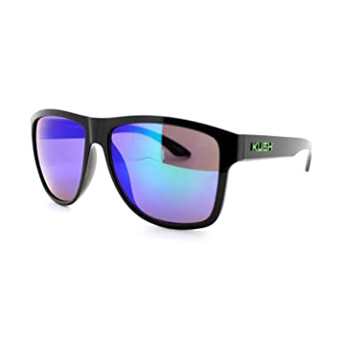 Grey Frame Aviator Shield Plastic Frame Sunglasses OS Blue Green Lens