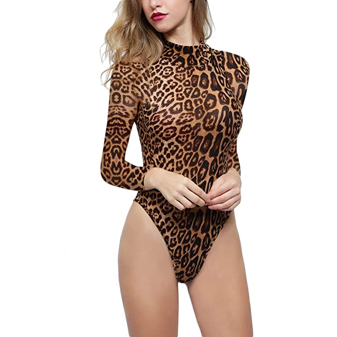 be2c19b1f02 WEEPINLEE Women s Sexy Leopard Print High Neck Long Sleeve Bodycon  Jumpsuits Rompers (L